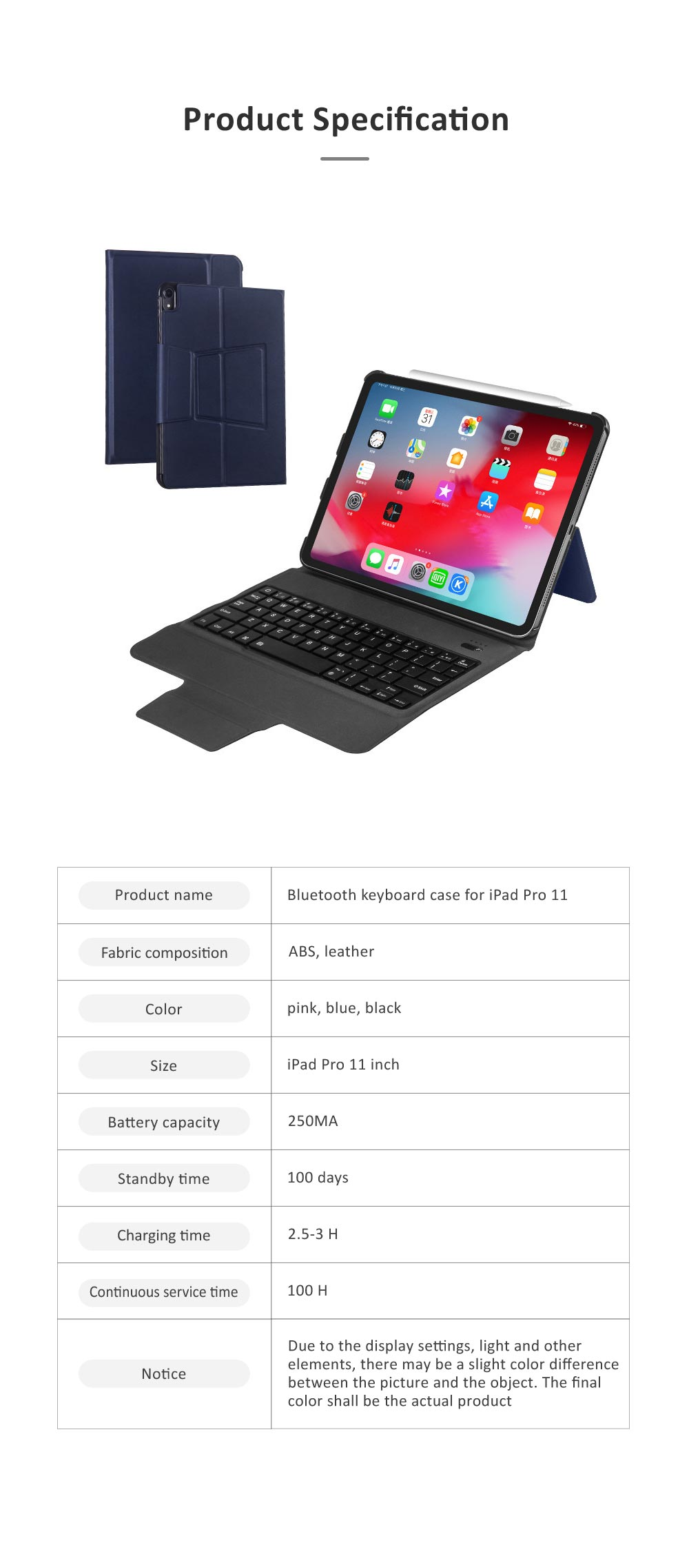 Ultra Thin Bluetooth Keyboard Case for iPad Pro 11 inches 2018, iPad Case with ABS Waterproof Keyboard for Apple iPad Pro 11 7