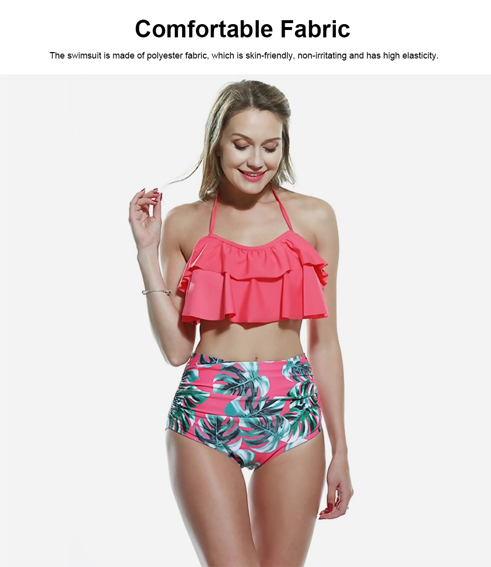 Lotus Leaf Chest Swimsuit, Separated Type Halterneck Swimwear for Summer, Flower Printed Women Bikini 1