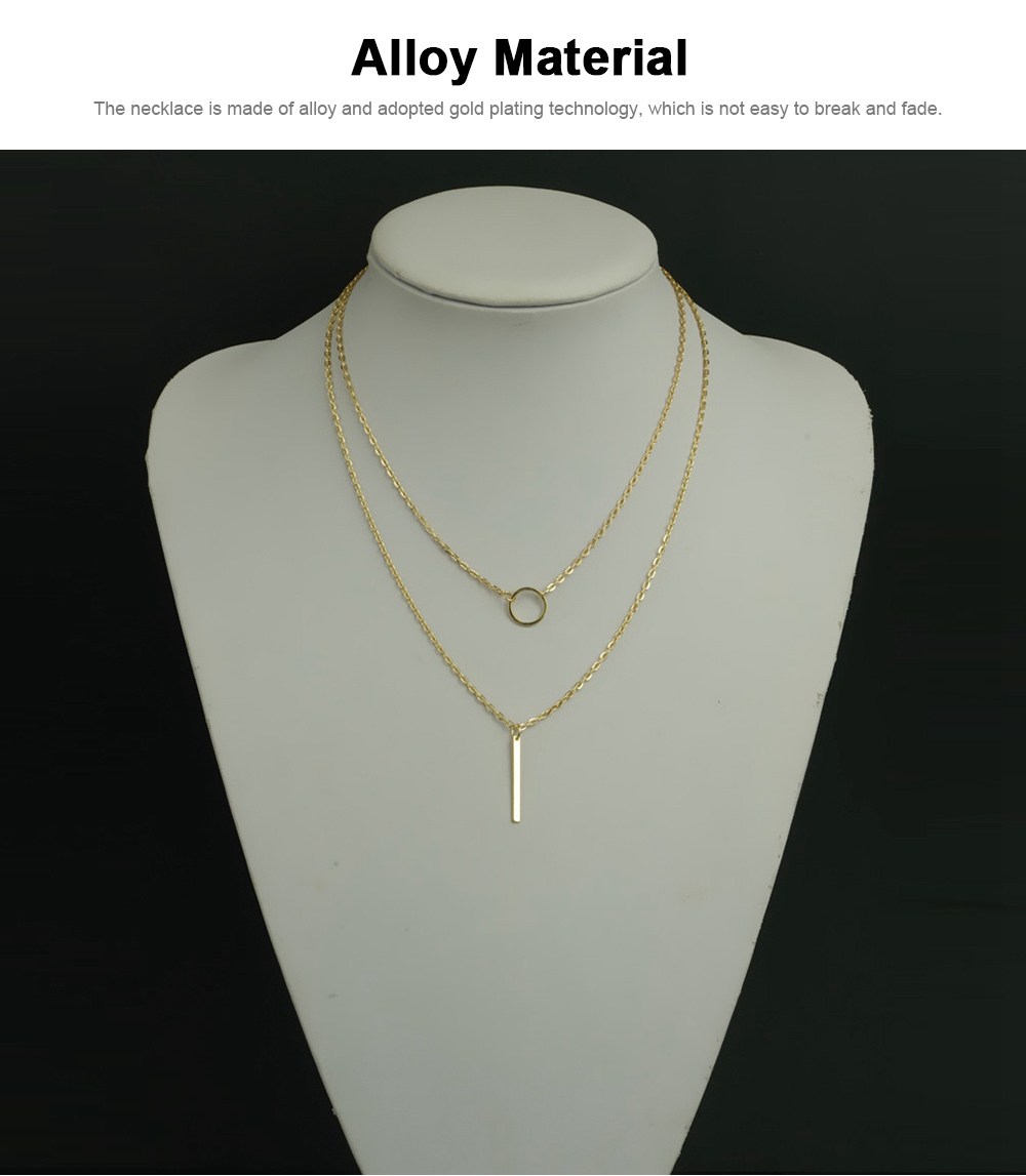 Fashion Women Necklace Jewelry, Metal Ring Simple Metal Strip Tassels Double Layer Necklace Chain Pendant Necklace 4