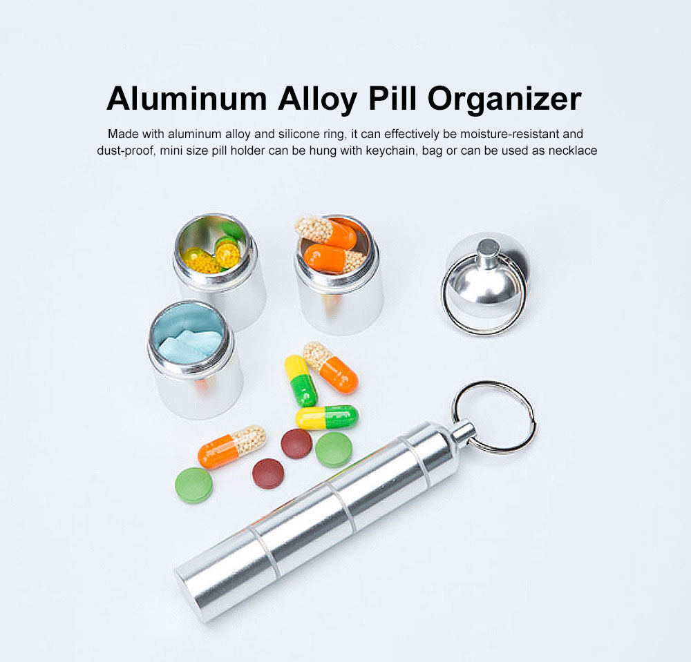 Pill Box Keychain Waterproof Single Chamber Aluminum Alloy Pill Organizer for Outdoor Travel Camping 0