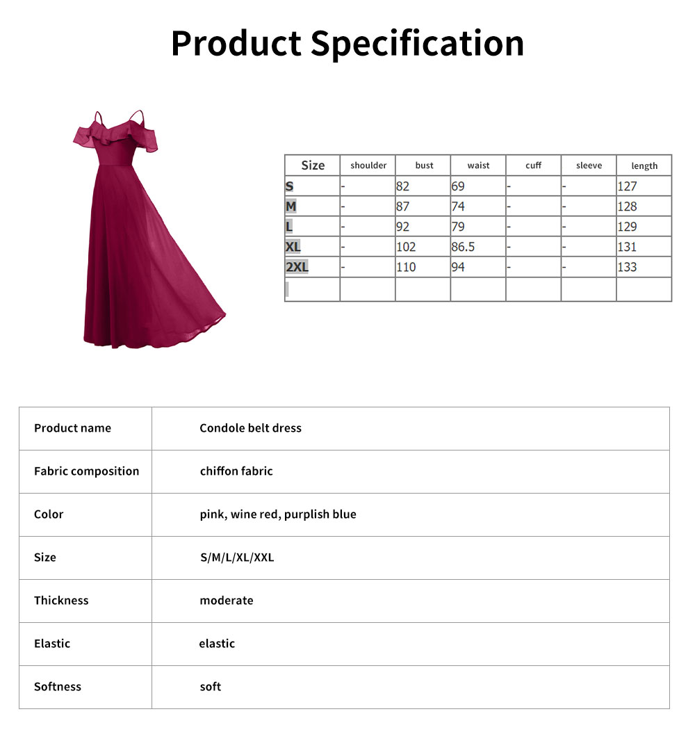 Condole Belt Dress for Women, Elegant Flounces Long Skirt, Classic Color Chiffon Sexy Annual Meeting Dresses 6