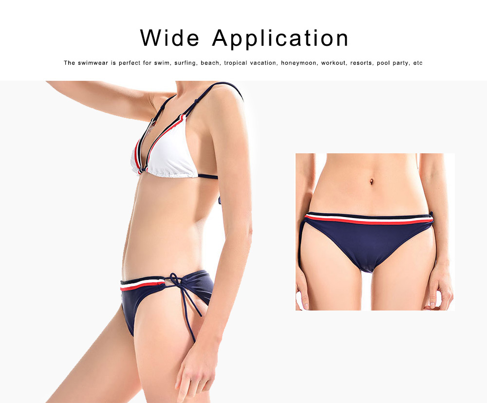 Women's Split Bikini Sets Side Lace Up Bandage Cute Bikinis Two Piece V-neck Swimsuit Sports Bathing Suits 6