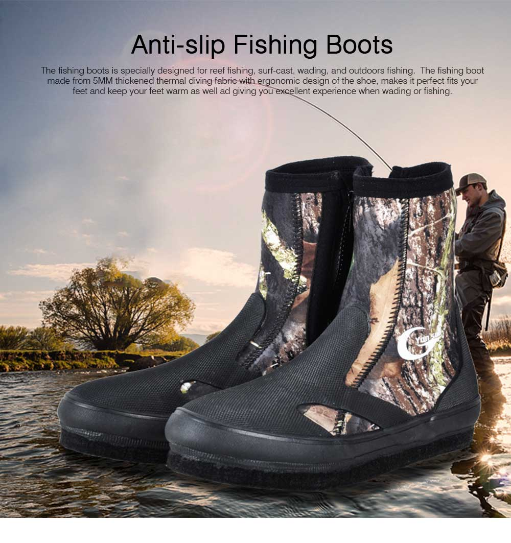 Anti-slip Fishing Boots for Men Women, Anti-scratch Fishing Shoes for Swimming, Wading, Fishing, Spring, Autumn, Winter Essential Felt Sole Neoprene Flat Wading Shoe 0