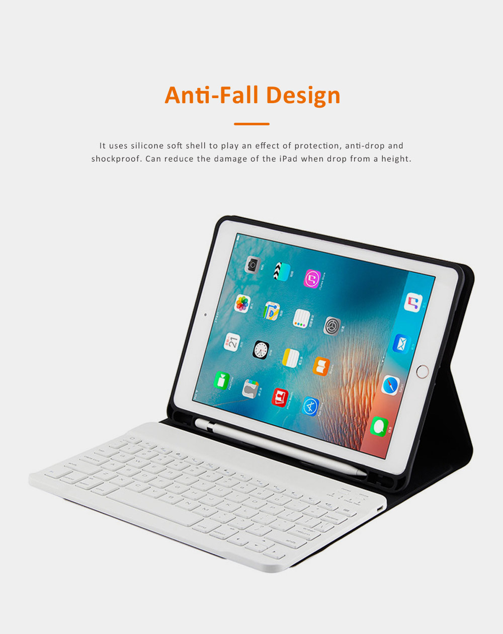 Smart Case with 3.0 Wireless Bluetooth Keyboard for iPad 9.7, Magnetic Leather Auto Sleep Awake Smart Case with Pencil Holder, Intelligent Sleep Protection Cover for Air 2 1, iPad Pro 9.7, ipad 9.7 2017 4