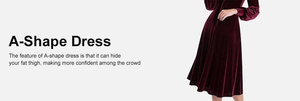 Women Choker V-Neck Velvet Dress Flare Long Sleeve Elegant A Line Dress with Bowknot Design 5