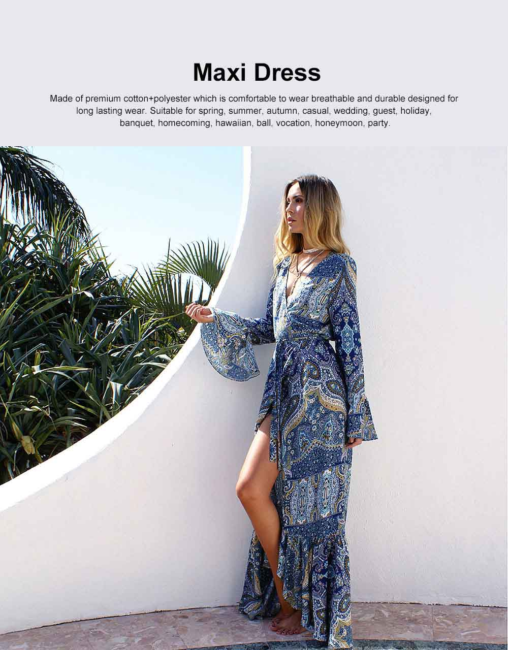 Women Long Sleeve Maxi Dress Casual Long Dresses Beach Dresses Bohemian Printed Side Split Dresses 0