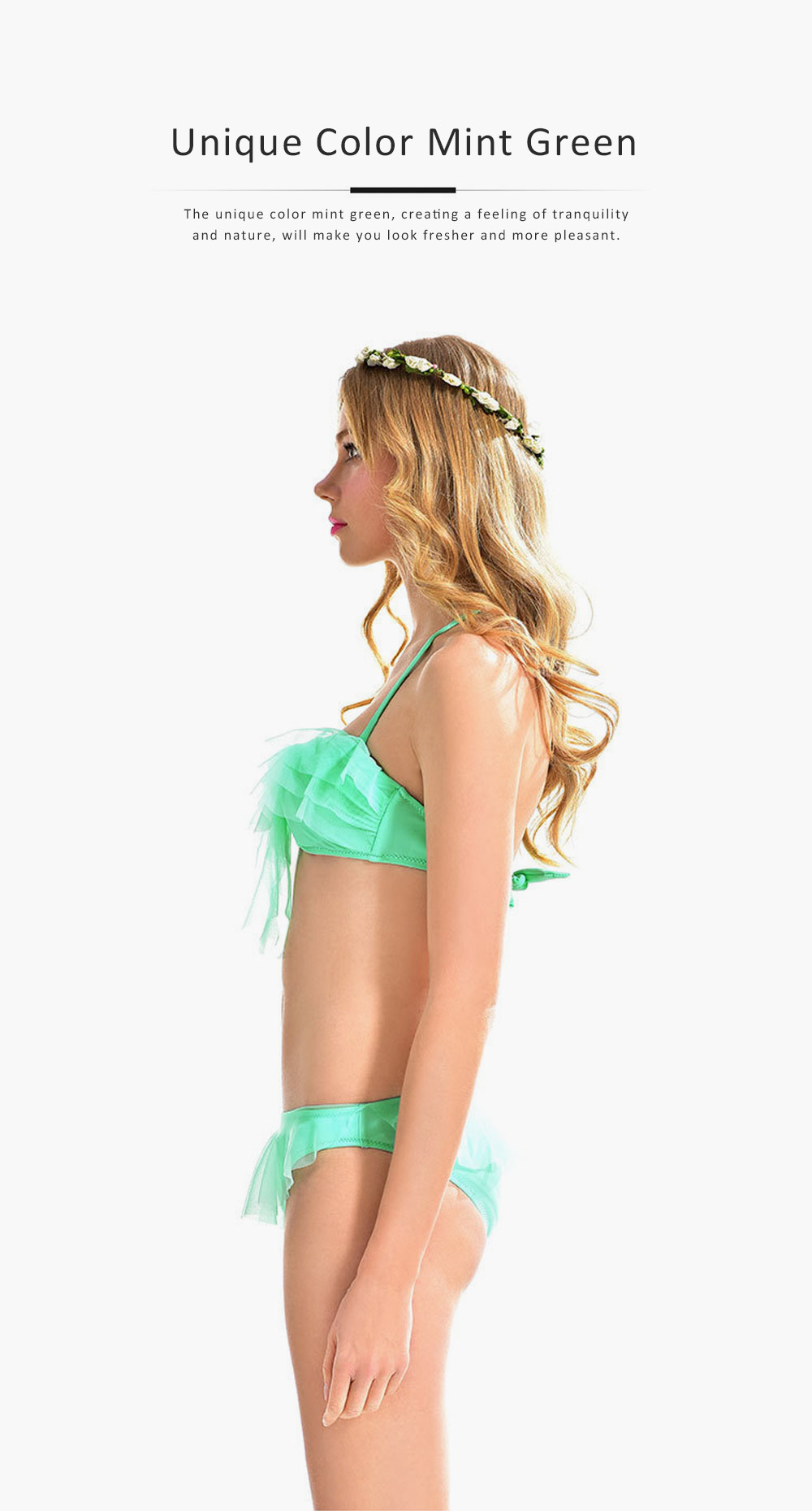 Ladies Ruffled Bikini, Solid Triangle Swimsuit for Ladies, Lace Halter Bikini Set Beach Swimming Suit 4