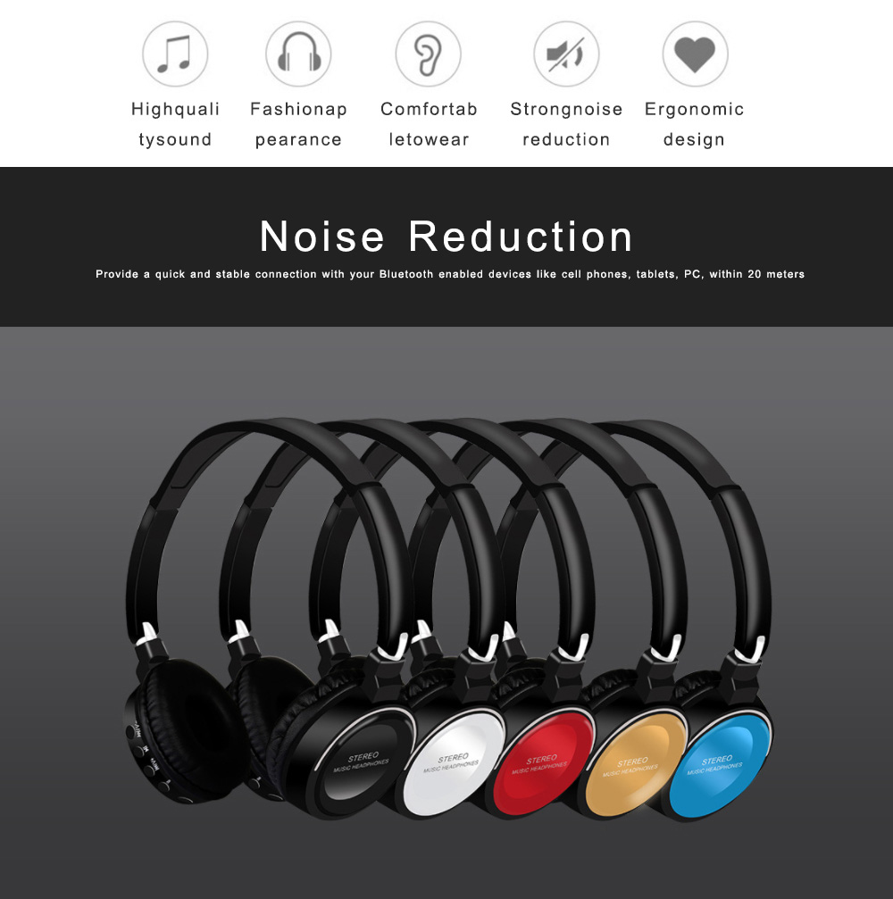 Bluetooth V4.2 Headset, Wireless Hi-Fi Stereo Noise Cancelling Over-ear Headphone with Built in Microphone 1