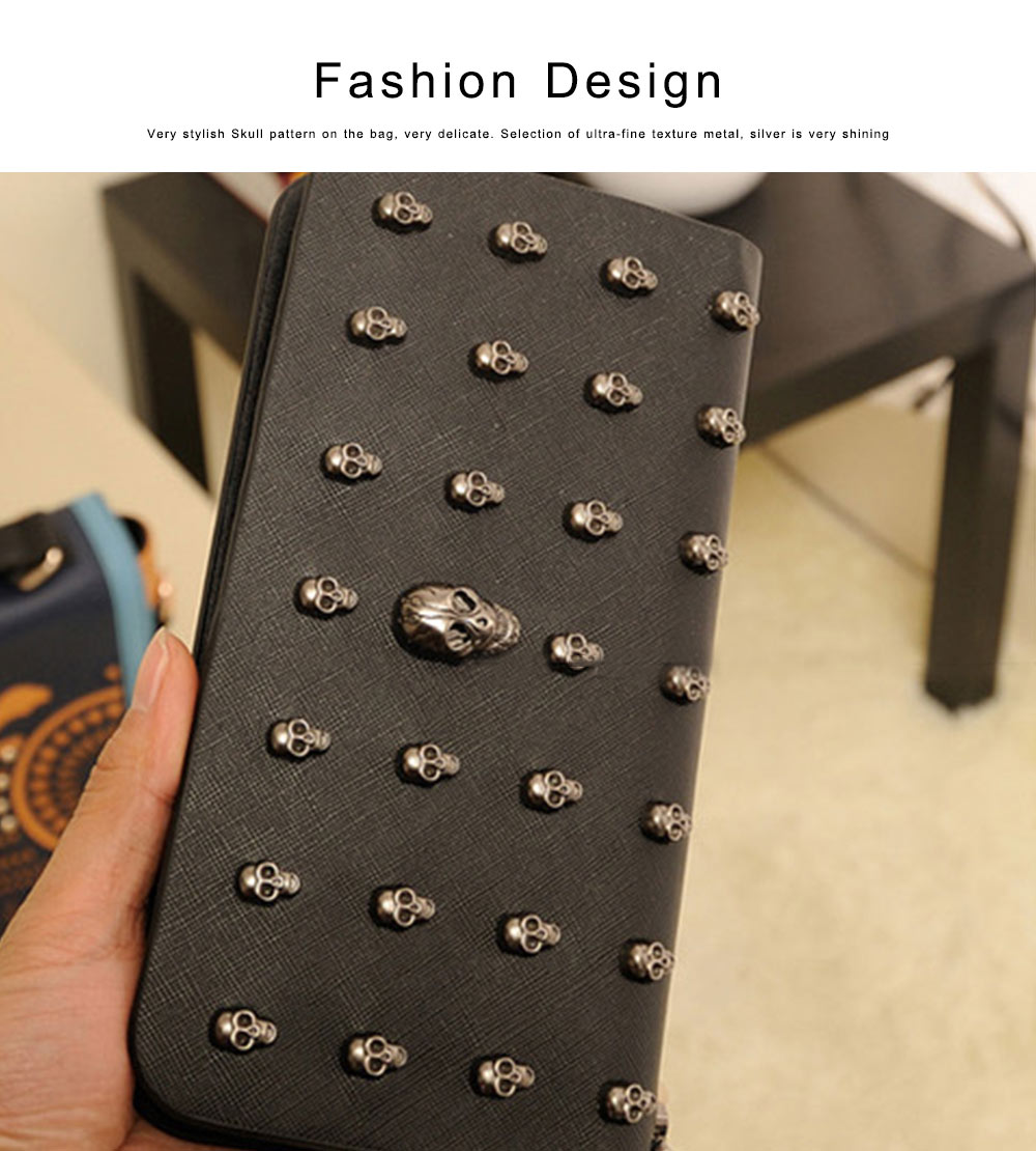 Women Purse Vintage Punk Skull Bag Ladies PU Leather Wallets Long Travel Purse Wristlet Clutch 2