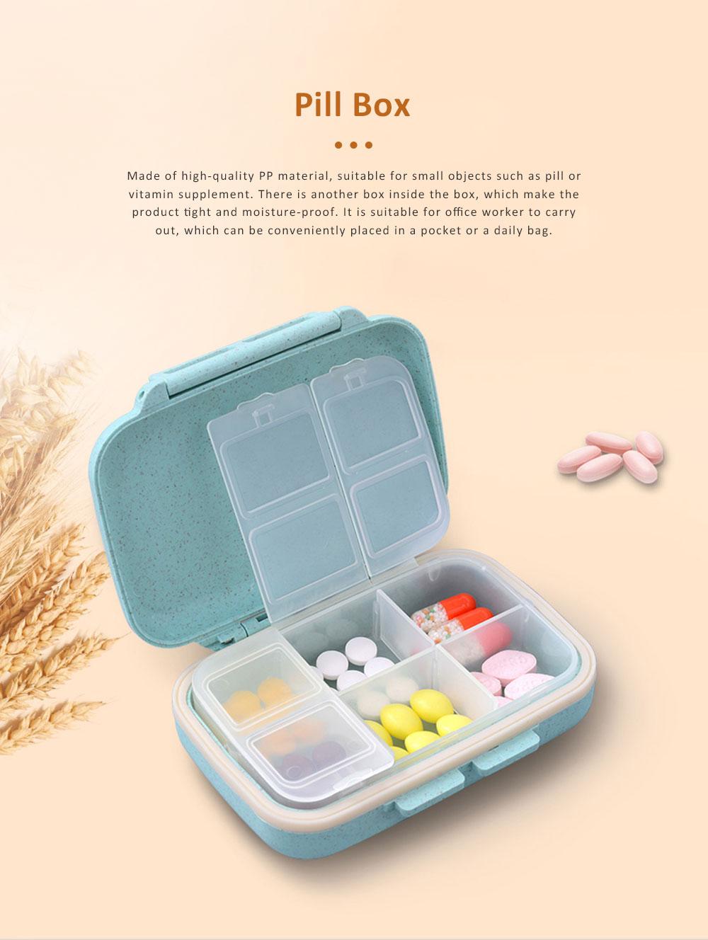 Portable Health Pill Box Wheat Fiber+ PP Material Cartridge, Mini Sealed Pill Box, Case Organizer, Medicine Container 0