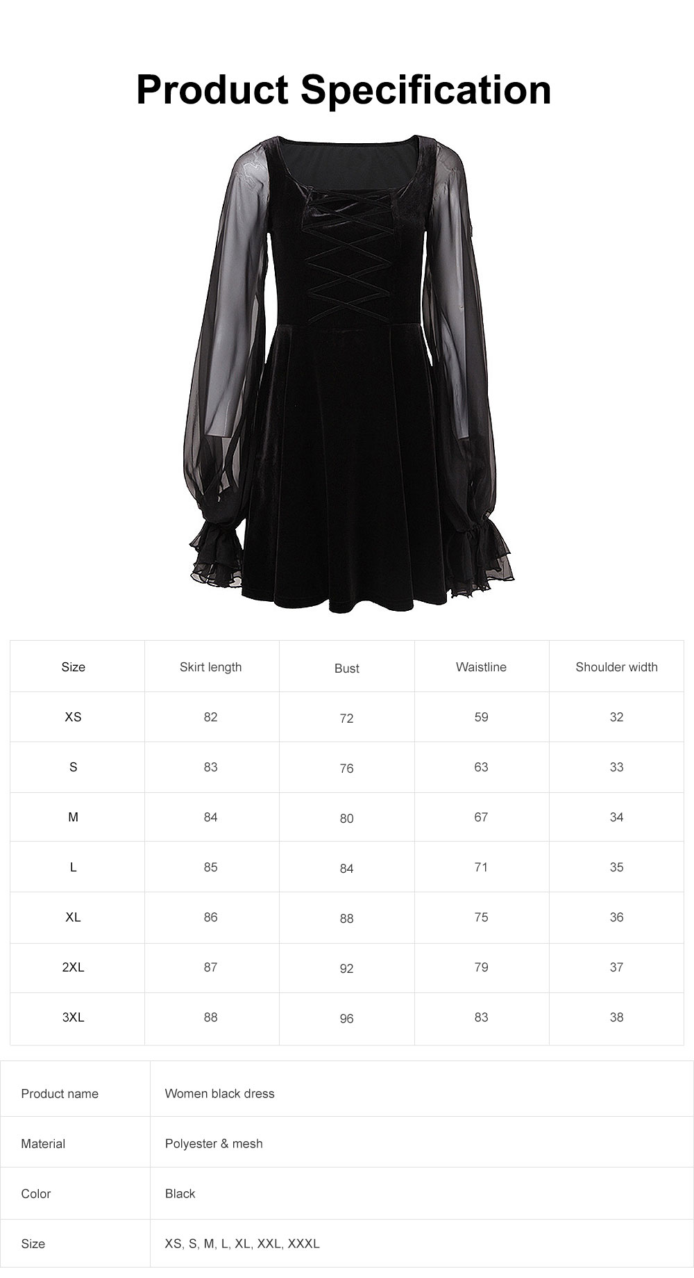 Women Sexy Dress with Bishop Sleeve Mesh Spliced Design Elegant Look Back Dress 6