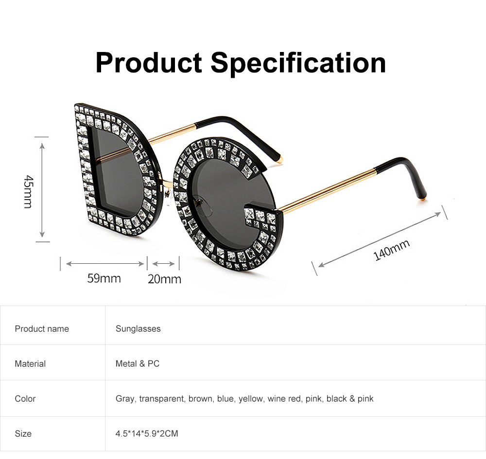 Sunglasses with Diamond Decoration Anti-Glare UV Protection PC Lens Stylish Design for Women 6