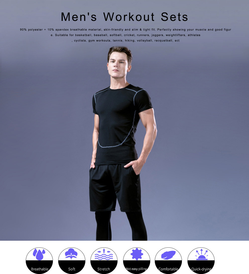Men's Workout Sets with Compression Pants, Long & Short Sleeve Shirts and Loose Fitting Shorts 4 PCS 0