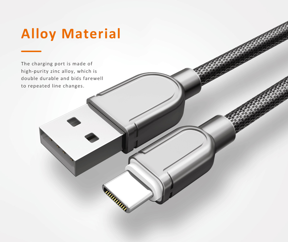 1M Type C Fast Charging Metal USB Cable, USB Data Cable with Zinc Alloy Connector, LDNIO Compatible Data Line 2 Colors 1