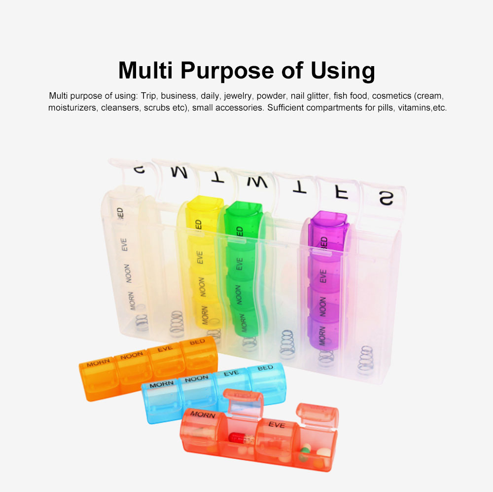 Pill Box with Creative Design Spring Type 28 Compartments Detachable Plastic Storage Box for Medicine Candy 1