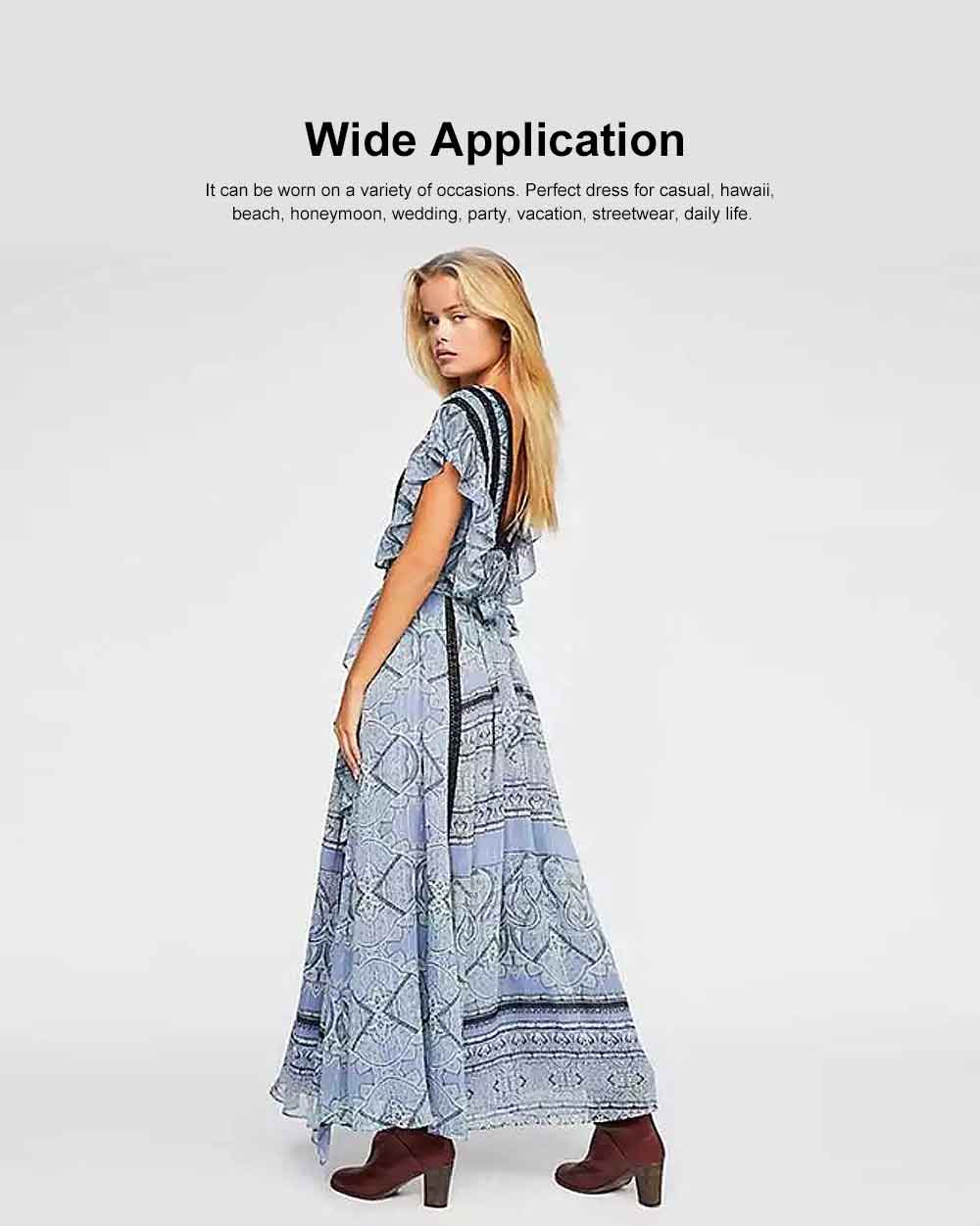 Women Ruffled Flounce Maxi Dress Deep V-neck Long Dresses Beach Dresses Bohemian Printed Side Split Dresses 1