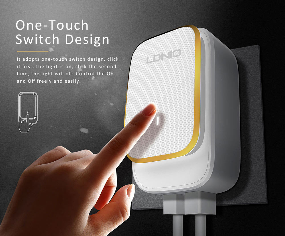 LED Nightlight Charger, USB Wall Charger with 2 Ports, USB Smart Home Travel Charger, Touch Control Power Adapter Charger with Soft Night Light for Home Office Travel 1