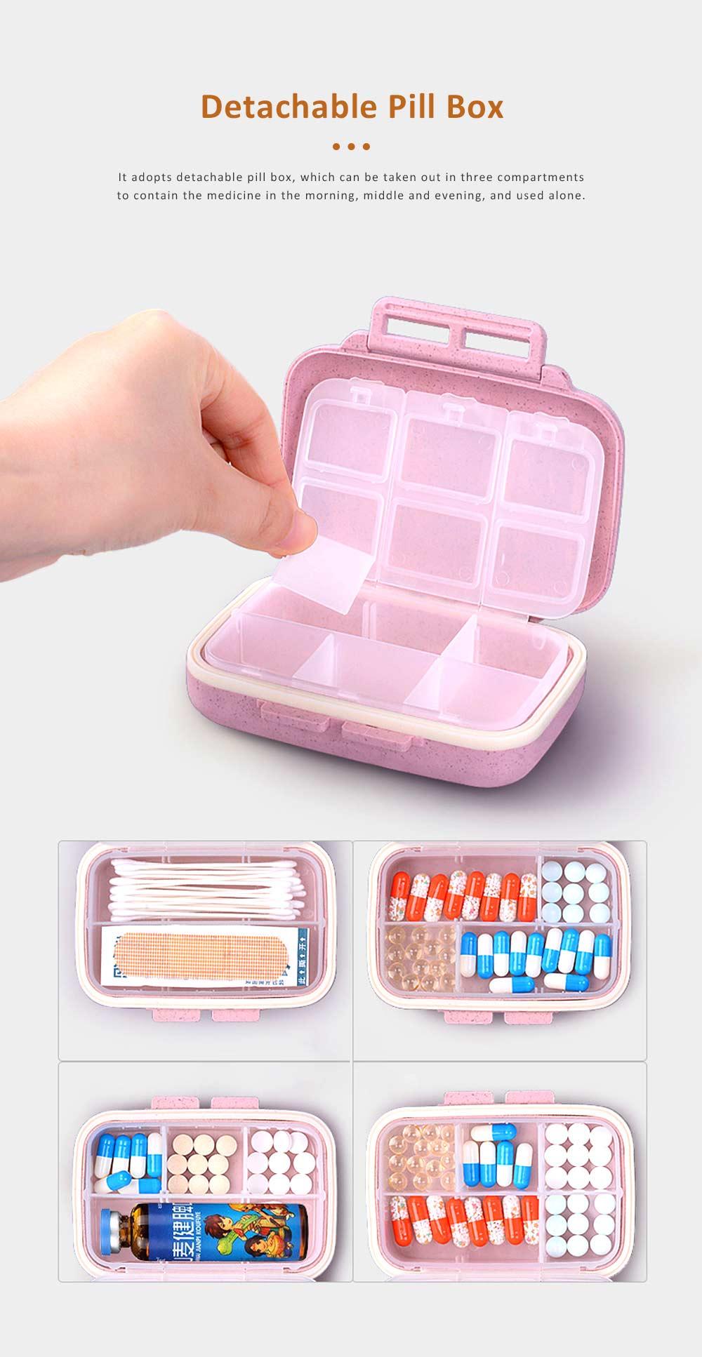 Portable Health Pill Box Wheat Fiber+ PP Material Cartridge, Mini Sealed Pill Box, Case Organizer, Medicine Container 3