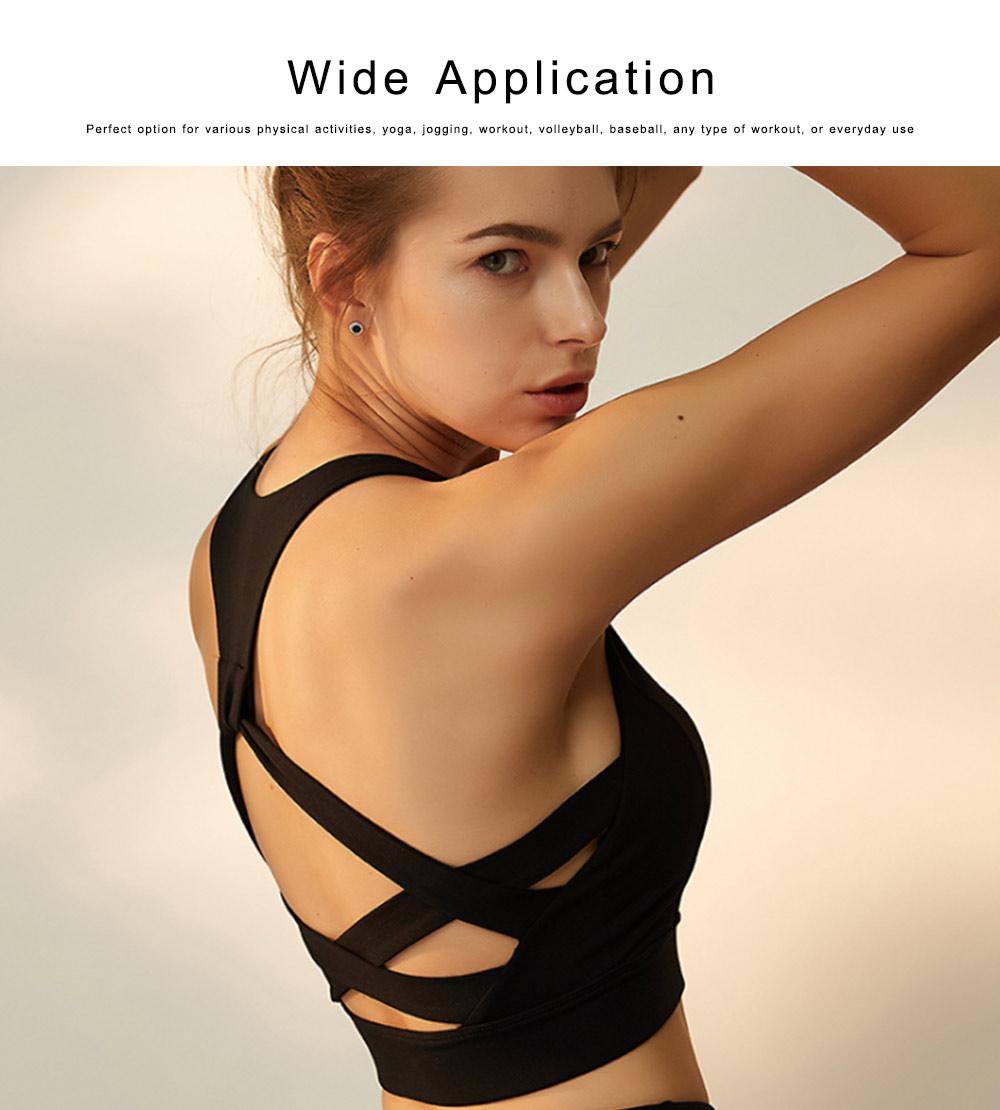 Women's Fitness Yoga Bra, Quick-drying Nylon Underwear Sexy Beauty Back Tops Vest Sports Bra 4