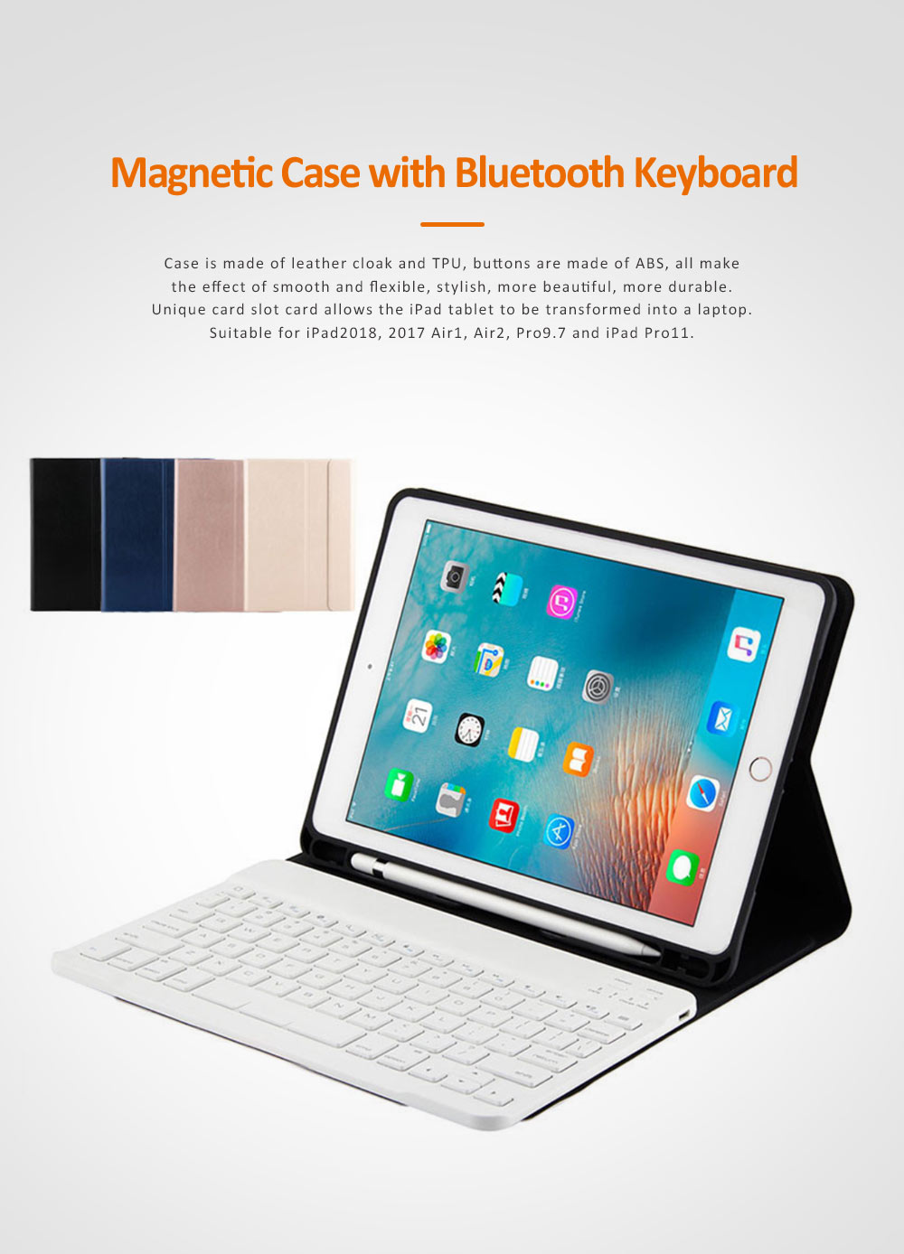 Smart Case with 3.0 Wireless Bluetooth Keyboard for iPad 9.7, Magnetic Leather Auto Sleep Awake Smart Case with Pencil Holder, Intelligent Sleep Protection Cover for Air 2 1, iPad Pro 9.7, ipad 9.7 2017 0
