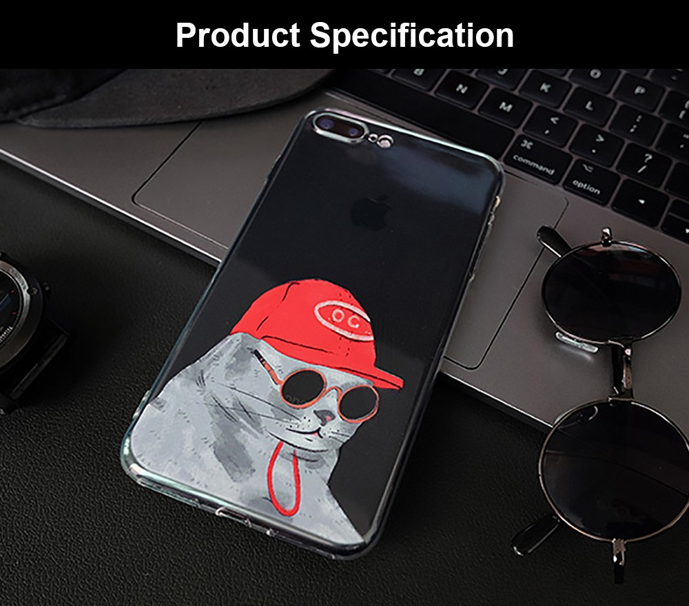 Shockproof TPU Mobile Phone Shell Back Cover Transparent Case, MOO Sprouts Sunglasses Cat Pattern for Apple iphone 6 6s XR XS MAX, IPhone 8 plus 7 Plus 7 8 6