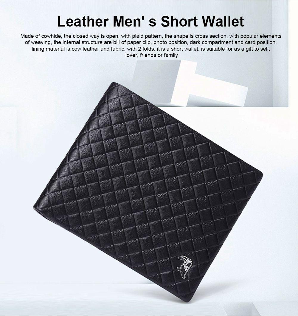 Fashion Men' s Wallet Short Money Card Holder Business Genuine Leather Wallet, Simple Rhomboids Folding Men' s Wallet 0