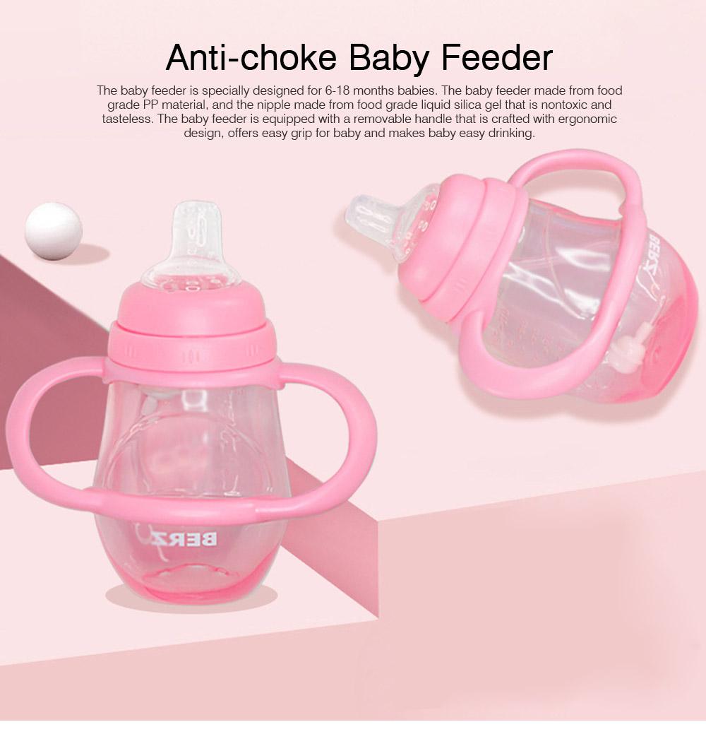 Anti-choke Baby Feeder with Handle for 6-18 months Babies, Anti-leak Food Grade Liquid Silica Gel Baby Nursing Bottle Baby Feeding-bottle 0