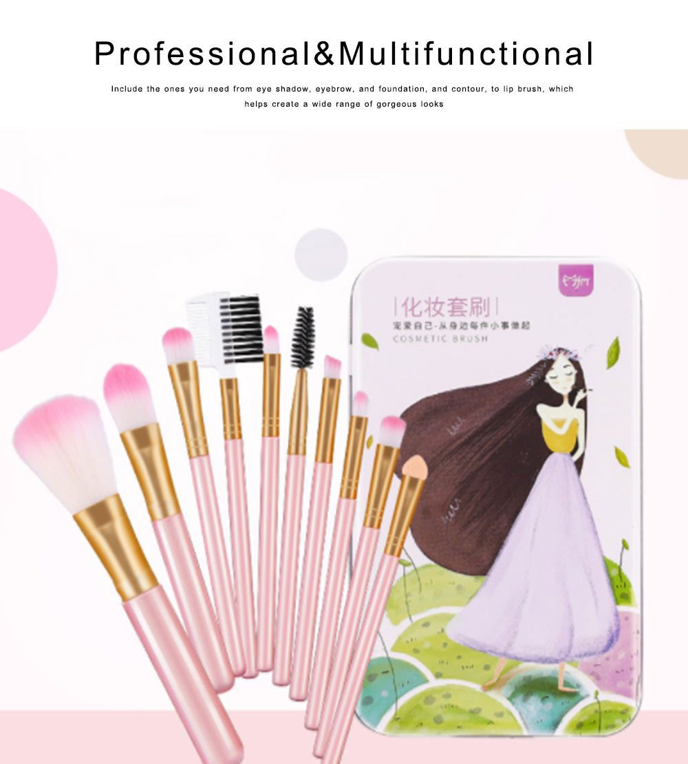 Makeup Brush Sets 10 PCS Makeup Brushes for Face Eyeshadow Eyebrow Blush Contour Foundation Fluffy Crease Cosmetic Brush Set Pink Best Gift for Lady Girl With Delicate Package Box 4