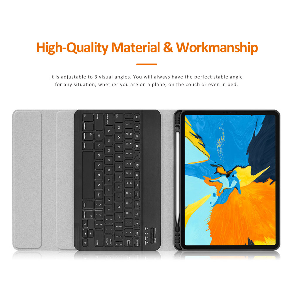 iPad Protective Case with 3.0 Wireless Bluetooth Keyboard, Magnetic Leather Auto Sleep Awake Slim Smart Case Shockproof Cover for iPad 2018 9.7, iPad 2017 9.7, Air 2 1, iPad Pro 2018 11, iPad Pro 2017 11'' 3