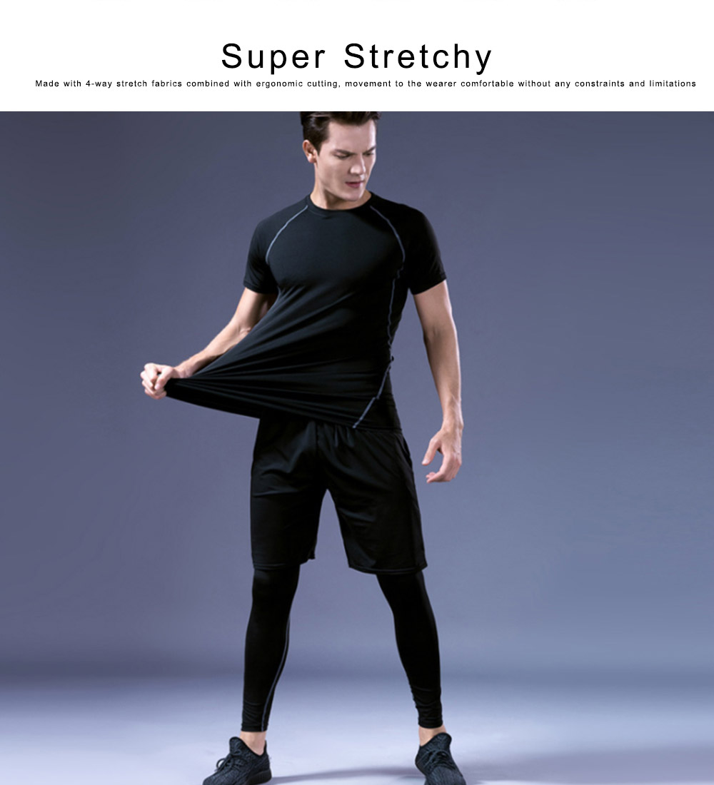 Men's Workout Sets with Compression Pants, Long & Short Sleeve Shirts and Loose Fitting Shorts 4 PCS 1