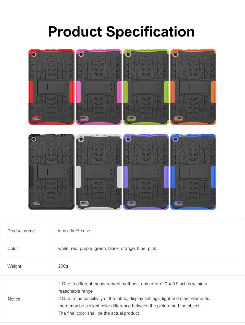 Full Protection Case for Kindle fire7 2017 Anti-slip Shockproof Impact Resistance Protective Case Cover with Kickstand 6