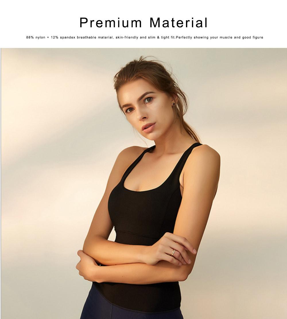 Women's Fitness Yoga Bra, Quick-drying Nylon Underwear Sexy Beauty Back Tops Vest Sports Bra 3