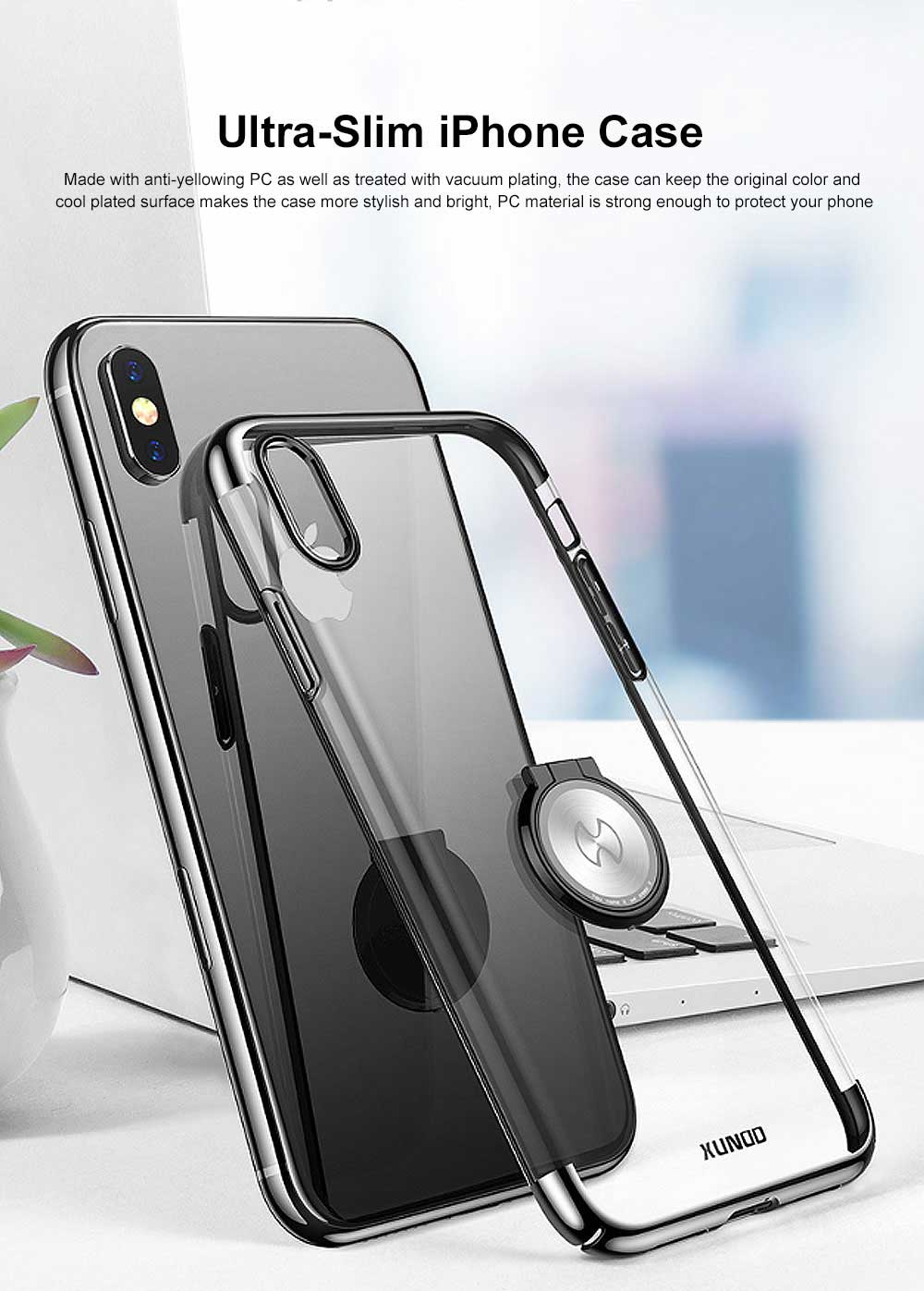 Ultra-Slim iPhone Case with Ring Holder Stand Compatible Magnetic Car Mount Cover Transparent Case Shell for Apple iPhone XS Max6.5 inch 0