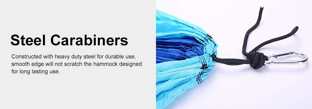 Camping Hammock Portable Indoor Outdoor Lightweight Nylon Parachute Hammocks for Travel, Beach with Nylon Straps and Carabiners 5