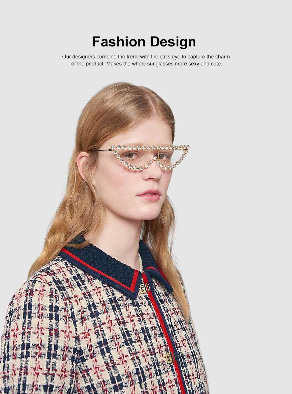 Women's Diamond Sunglasses Vintage Cat Eye Thin Metal Frame Sunglasses Fashion Accessories for Lady Women Girl 1
