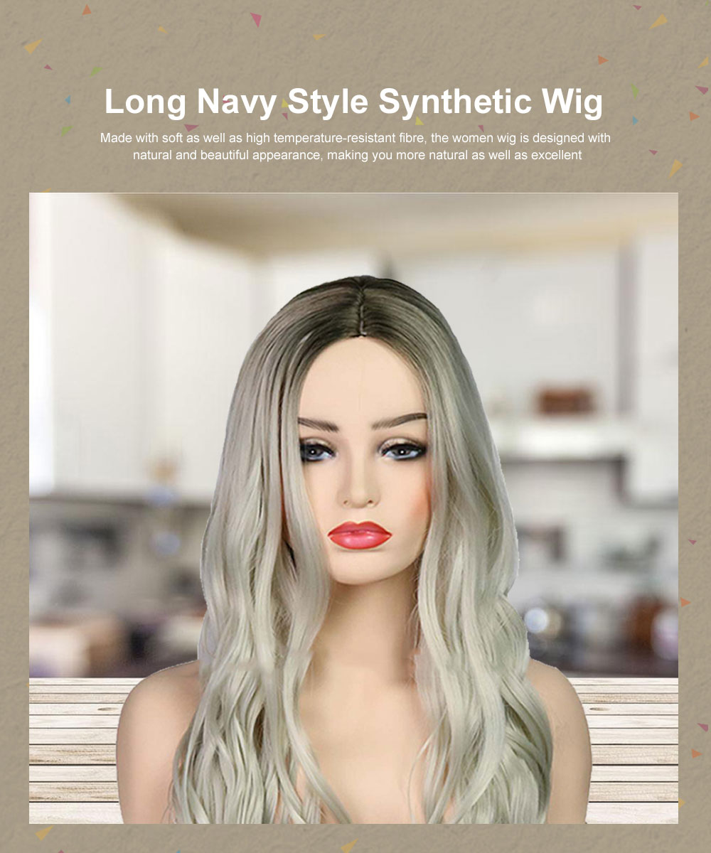 Synthetic Lady Wig Natural Looking Long Wavy Style Heat Resistant Replacement Wig for Women Gold Platinum Pink Colors Option 0