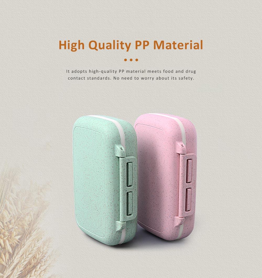 Portable Health Pill Box Wheat Fiber+ PP Material Cartridge, Mini Sealed Pill Box, Case Organizer, Medicine Container 4
