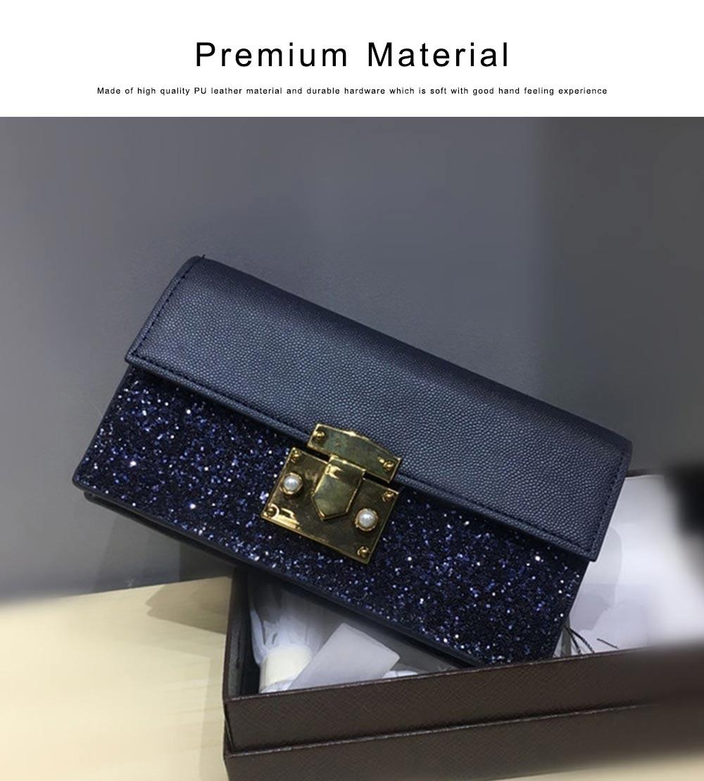 Women Long Purse Vintage Ladies PU Leather Wallets Sequin Handbags Slim Clutch Bag Make Up Bag Banquet Bag 3