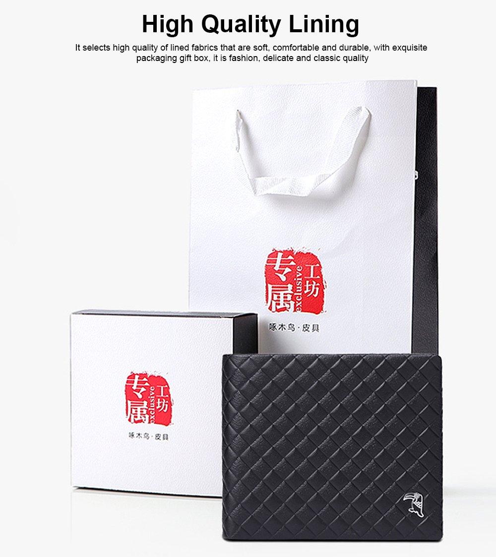 Fashion Men' s Wallet Short Money Card Holder Business Genuine Leather Wallet, Simple Rhomboids Folding Men' s Wallet 2