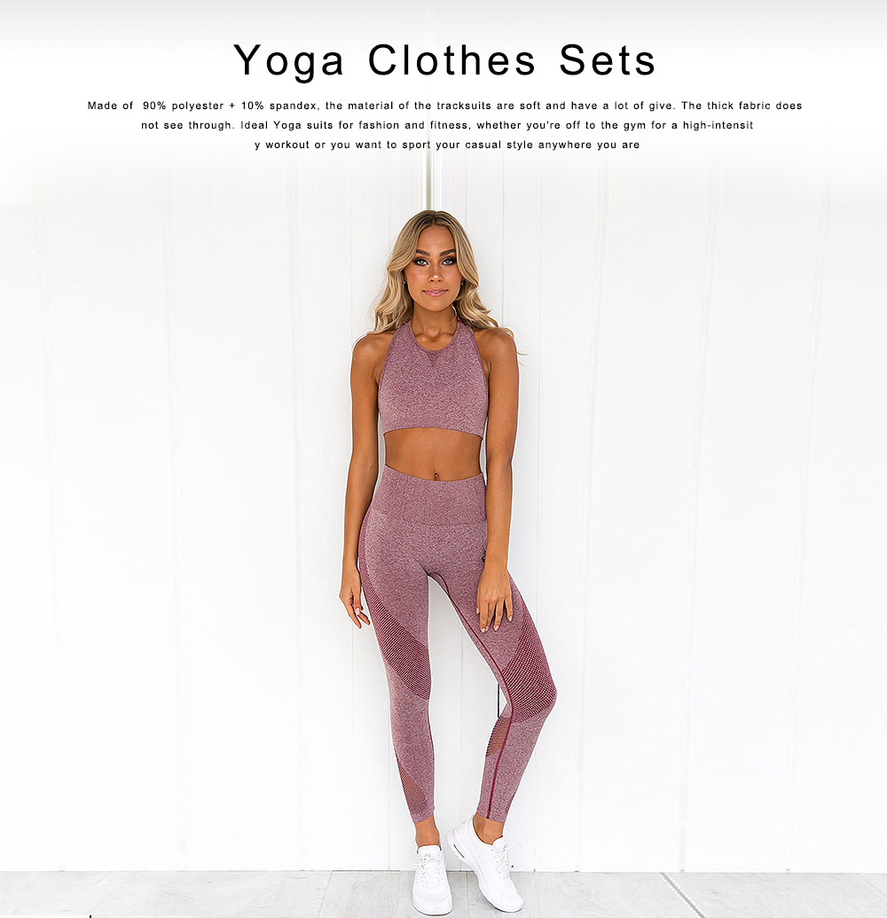 Yoga Clothes Sets Tank Top, High-Waist Leggings 2 Piece Sets for Women, Gym Clothes Set with High Elasticity 0