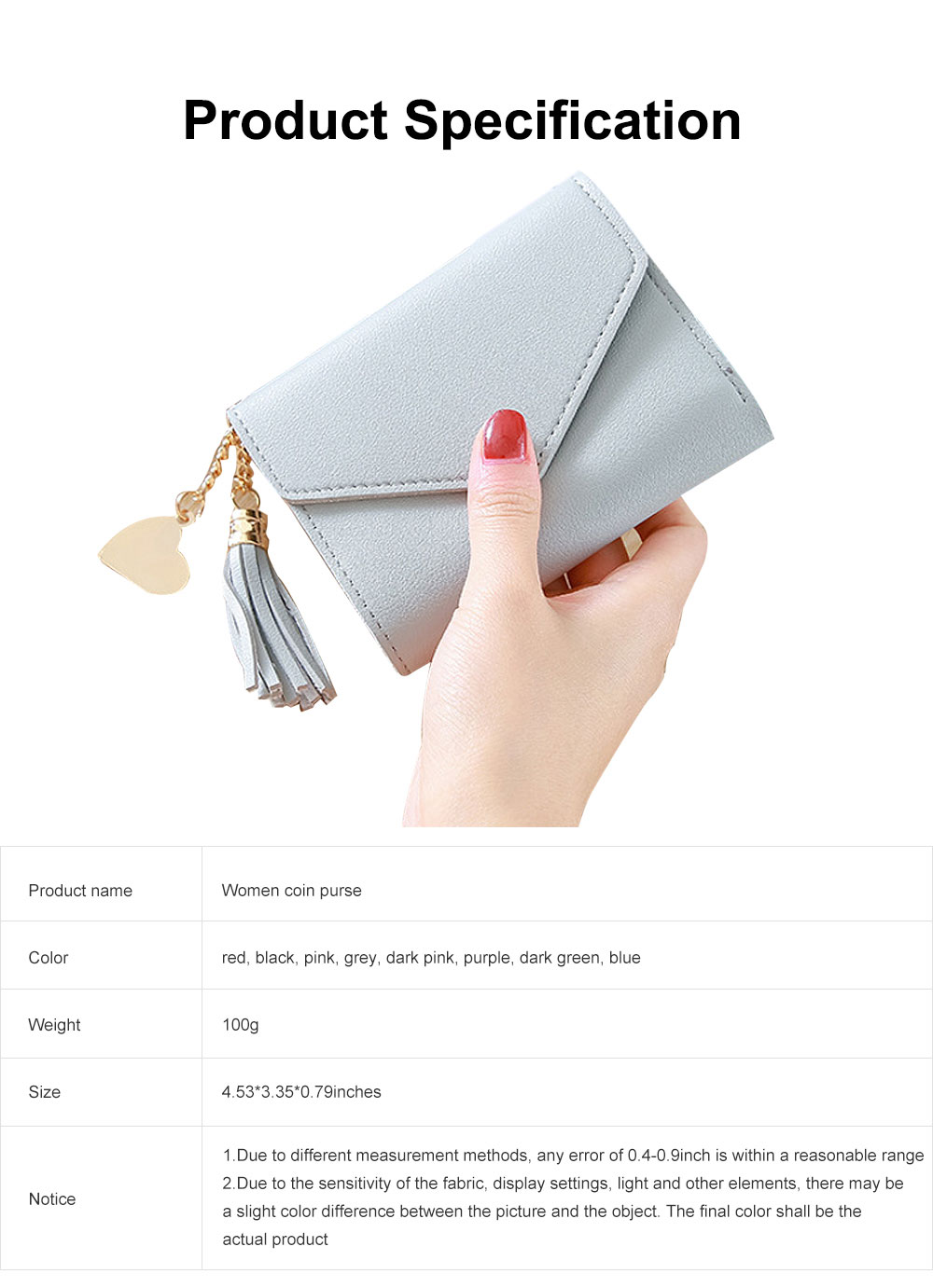 Women Coin Purse with Retro Tassel Pendant Ladies PU Leather Purse Women Fashion Accessories Short Travel Clamshell Purse Clutch 6