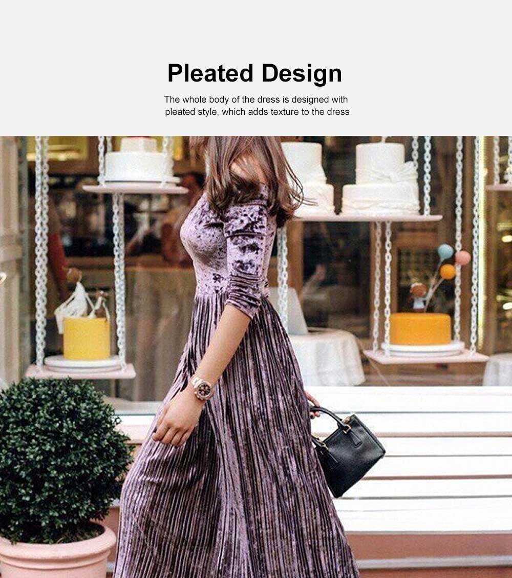 Women Off Shoulder Dress Boat Neck Three Quarter Sleeve Empire Pleated Velvet A-Line Midi Dress 2