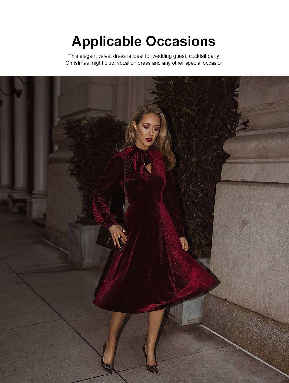 Women Choker V-Neck Velvet Dress Flare Long Sleeve Elegant A Line Dress with Bowknot Design 1