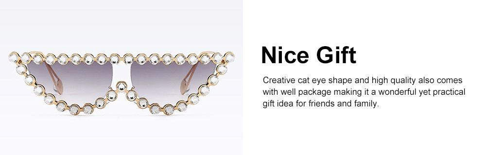 Women's Diamond Sunglasses Vintage Cat Eye Thin Metal Frame Sunglasses Fashion Accessories for Lady Women Girl 2