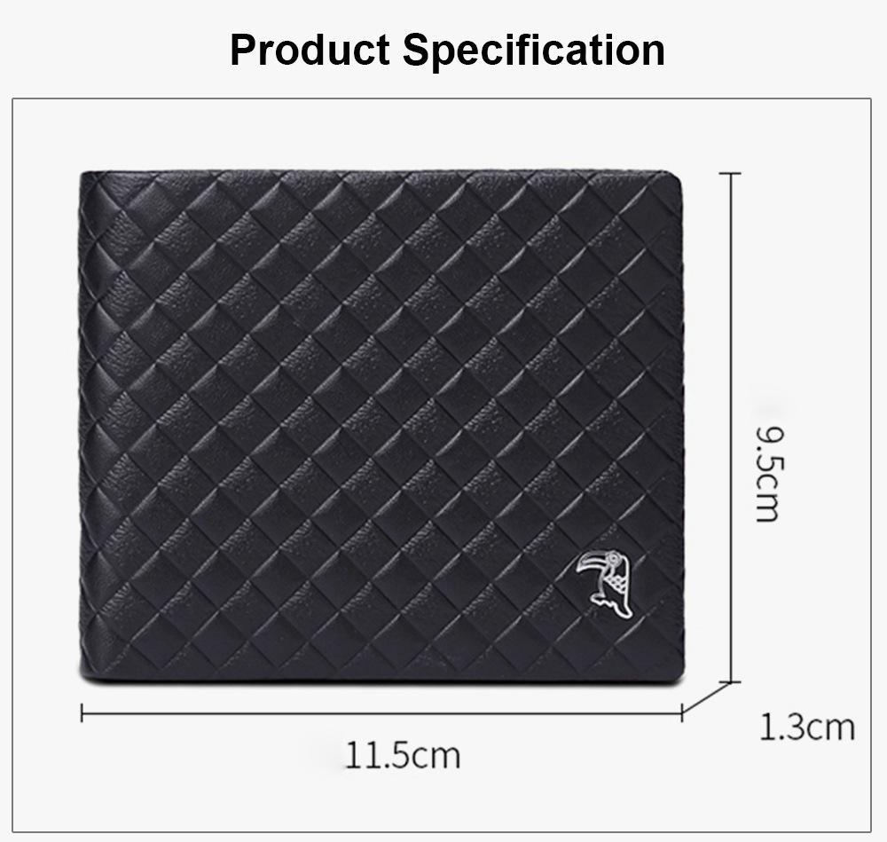 Fashion Men' s Wallet Short Money Card Holder Business Genuine Leather Wallet, Simple Rhomboids Folding Men' s Wallet 6