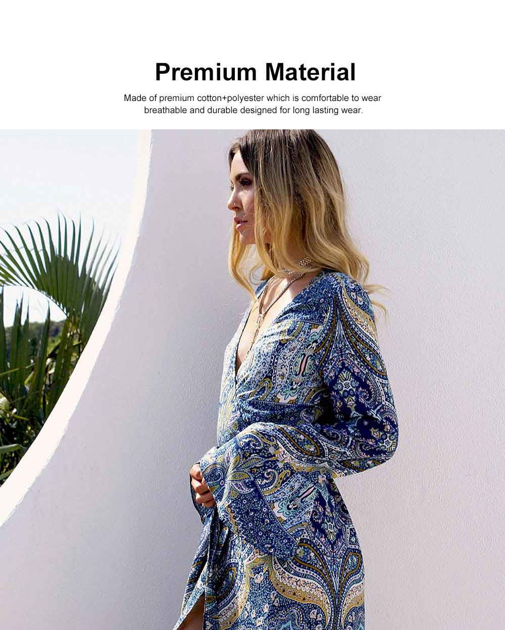 Women Long Sleeve Maxi Dress Casual Long Dresses Beach Dresses Bohemian Printed Side Split Dresses 3
