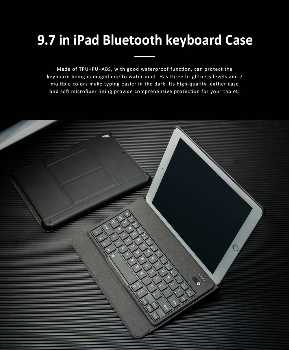 Bluetooth Keyboard Magnetic Flip Case for iPad Air 1, iPad Air 2, iPad Pro 9.7, iPad 9.7 2018, iPad 9.7 2017, Ultra- Thin Split Type New iPad 9.7 Colorful Backlit External Bluetooth Protective Cove 0