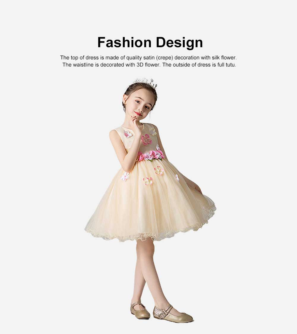 3D Flower Girls Princess Dress, Sleeveless Tulle Birthday Party Dress Best Gifts for Girl 1