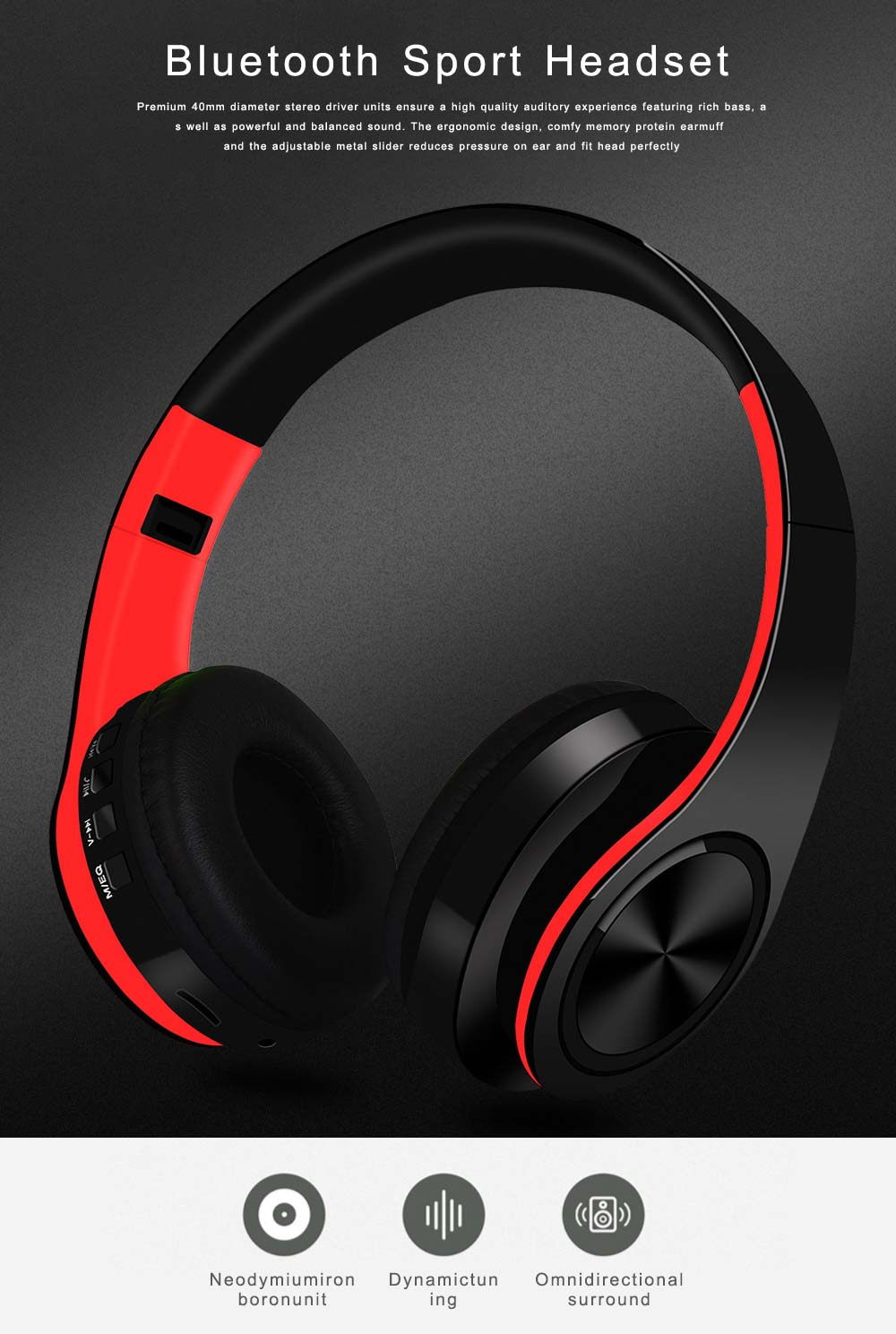 Bluetooth 4.2 Sport Headset Over Ear Headphones Lightweight Stereo Wireless Headphones earphone with 20m Transmission Range 0
