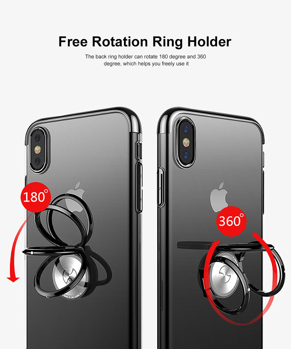 Ultra-Slim iPhone Case with Ring Holder Stand Compatible Magnetic Car Mount Cover Transparent Case Shell for Apple iPhone XS Max6.5 inch 2